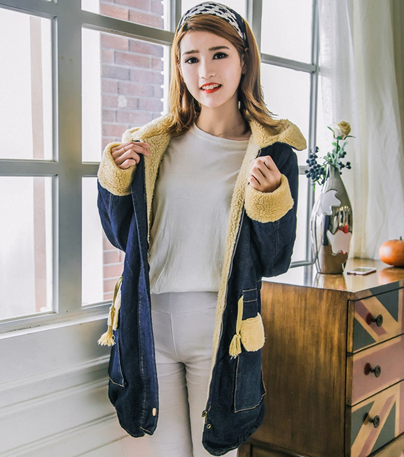 2016 Women Autumn Winter Thicken Lambs Wool denim jacket female Warm Cotton jeans coat ladies long Vintage outwear parkas X6226 warm thicken baby rompers long sleeve organic cotton autumn