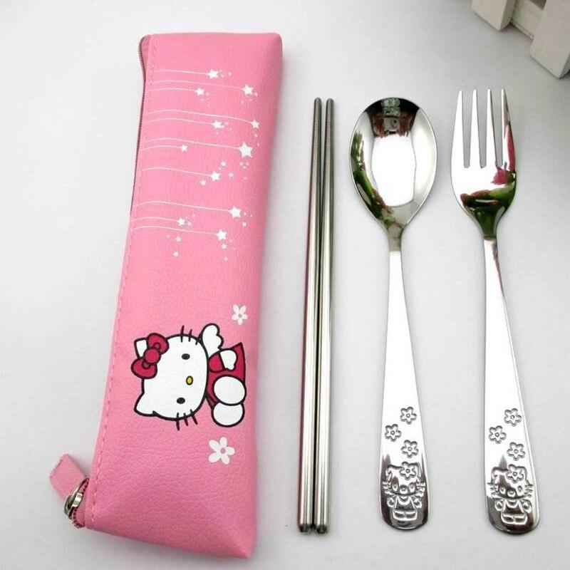 Набор посуды из нержавеющей стали, ложка, вилка, палочки для еды, упаковка ткани, для путешествий, для офиса, пикника, барбекю, кухонные принадлежности - Цвет: pink
