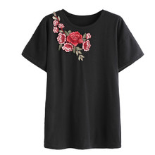 T-shirts for Women female T-shirt top 2017 Fashion Summer t shirt Rose Embroidered T-shirts Short Sleeve tshirt Tops