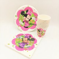 40pc Set Theme Cup Plate Napkin Minnie Mouse Party Supplies For Girls Shower Event Party Decorations