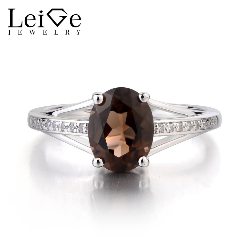 Leige Jewelry True Natural Smoky Quartz Ring Oval Cut Fine Gemstone Engagement Anniversary Ring Solid 925 Sterling Silver Ring цена