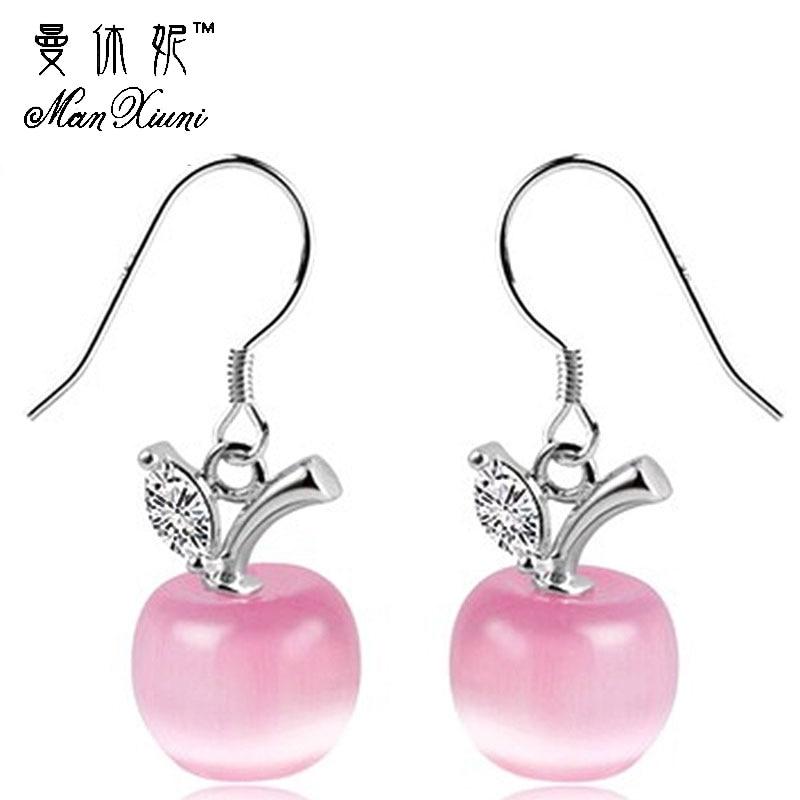 Mode rosa vit opal sten pärlor lång droppe örhängen för kvinnor äppel kristall design silver smycken bröllop örhängen grossist