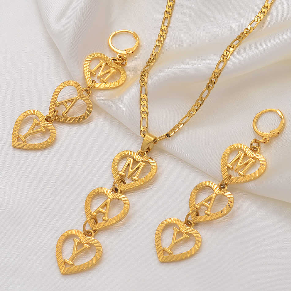 Anniyo (Menempatkan 3 Huruf) Personalisasi Nama Huruf Awal Kalung Anting-Anting Menyesuaikan Alphabet Perhiasan Set Guam Chuuk #104506