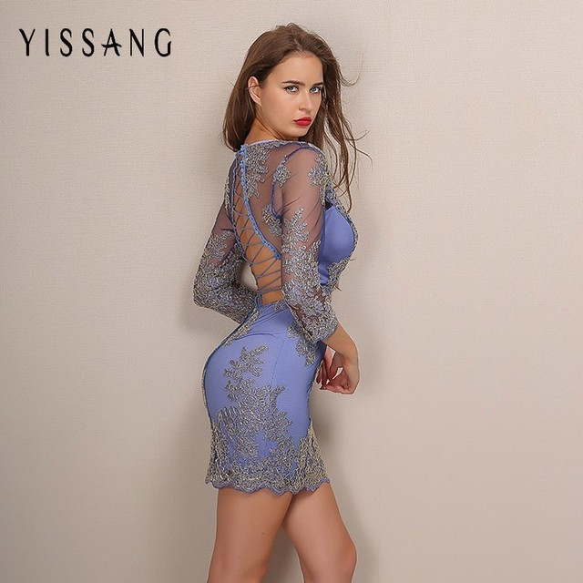 Yissang Long Sleeve Embroidery Lace Bodycon Dress Elegant Deep V Neck Backless Women Dresses For New Year