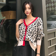 2018 Runway Autumn women's Short cardigan Leopard print office lady style knitted sweater skinny single-breasted sweater(China)