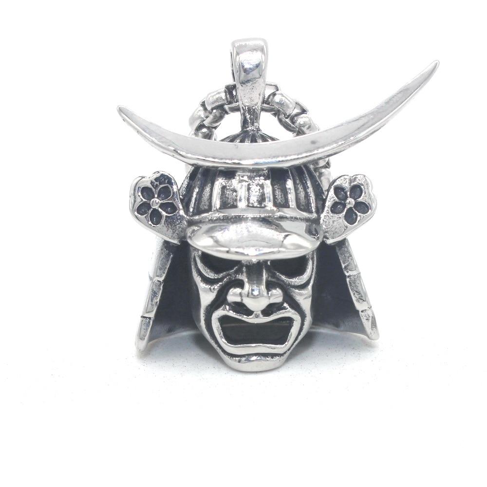 Japanese Samurai Armor Face Mark Pendant 316L Stainless Steel Mens Biker Rocker Punk Style D205 Steel Necklace 24inch