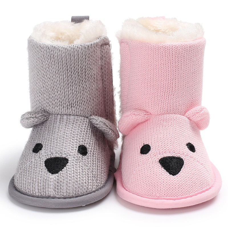 Baby Fashion Winter Warm Cute Cartoon Bear First Walkers Knitted Infant Toddler Newborn Shoes