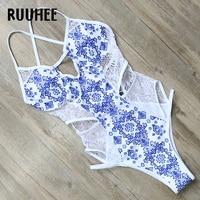 RUUHEE One Piece Swimsuit Swimwear Women Sexy Lace Bandage Bodysuit 2017 Brand Swimsuit Bathing Suit Monokini