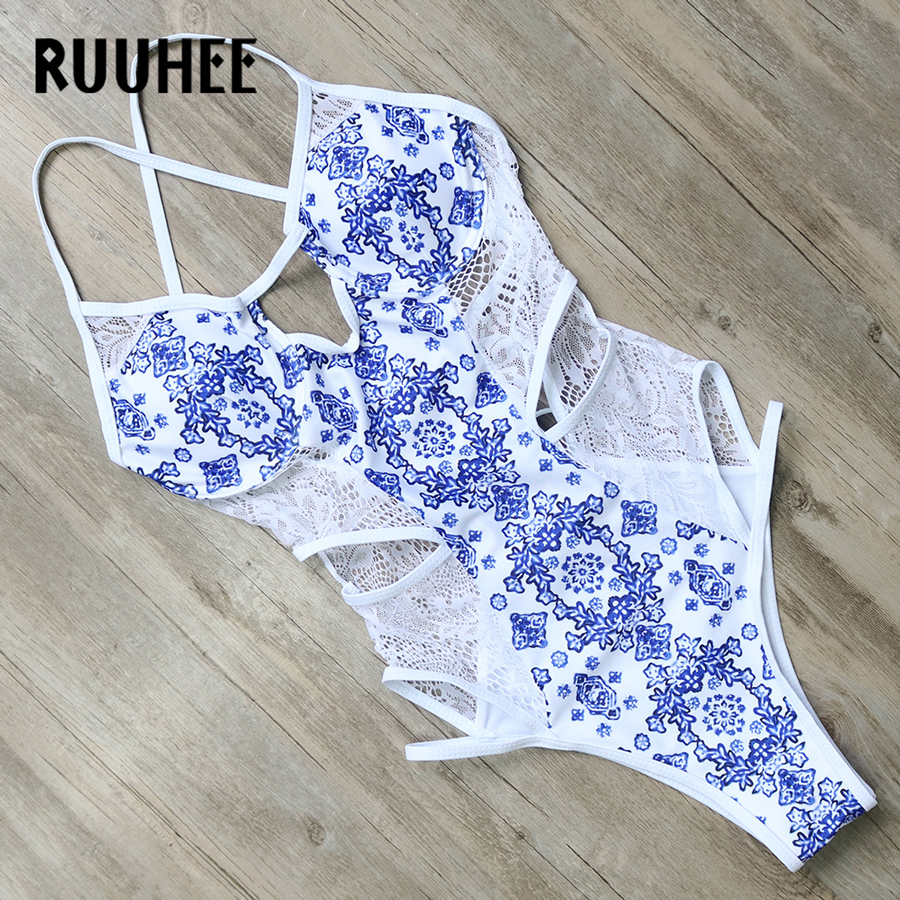 RUUHEE Official Store RUUHEE One Piece Swimsuit Swimwear Women Sexy Lace Bandage Bodysuit 2017 Brand Swimsuit Bathing Suit Monokini Swimming Suit