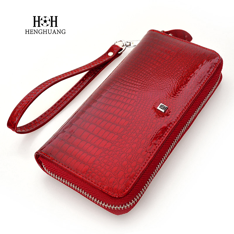 HH Genuine Leather Women Wallets Luxury Brand High Quality Fashion Girls Purse Card Holder 2019 New Design Long Wristlet Clutch