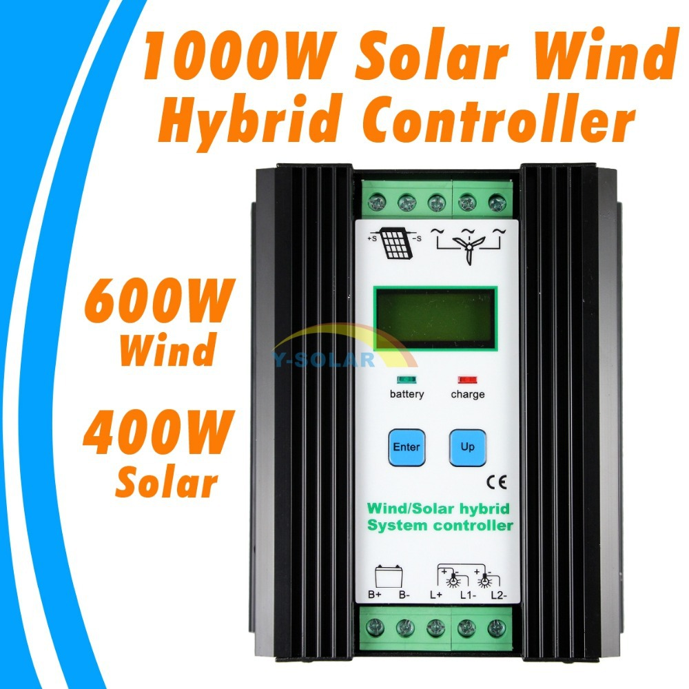 50A 24V 1000W wind solar hybrid controller LCD Wind 600W and 400W solar panels Economic Solar Wind Hybrid Controller wind and solar hybrid controller 600w with lcd display charge controller for 600w wind turbine and 300w solar panel 12v 24v