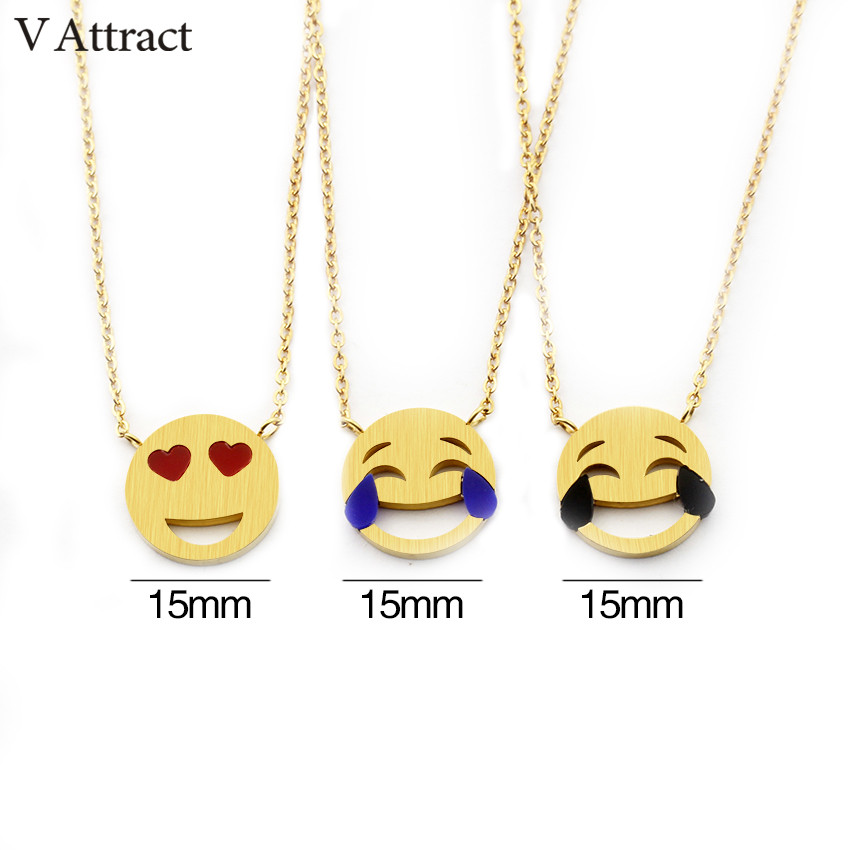 V Attract Expression Jewelry Gold Silver Collier Ras Du Cou 2018 Heart Tear Smiling Face Statement Necklace for Women Choker