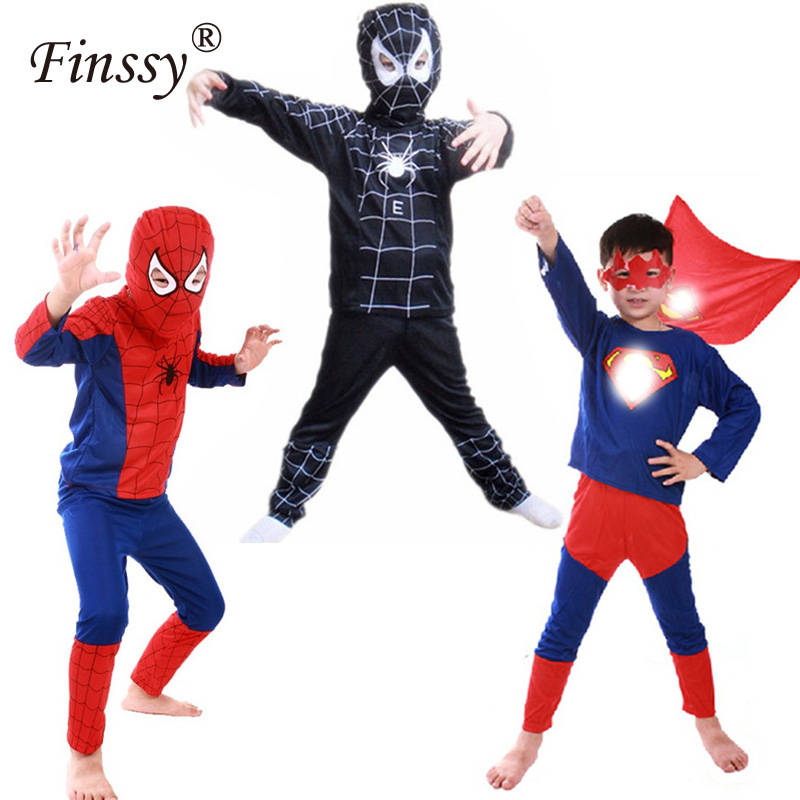 Hero Red Spiderman Costume Boys Cosplay Black Spider Man Halloween Costume For Kids Carnival Clothes Hat Pants Capes Mask