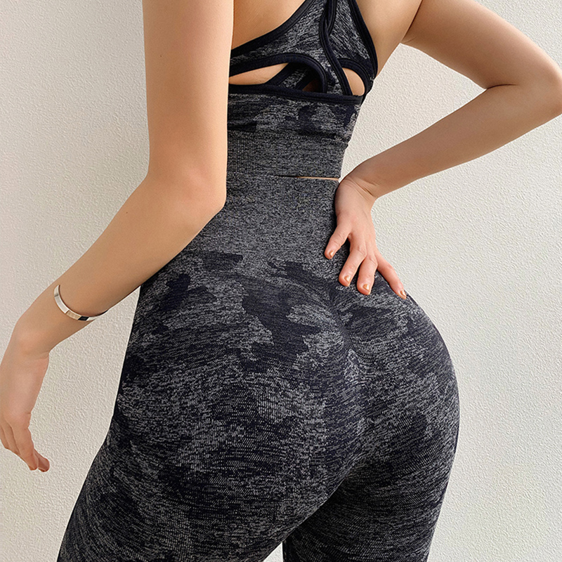 Hips Push Up Women Gym Leggings Purple Camouflage Knitted Yoga Pants Seamless Tummy Control Fitness Leggings Running Sport Pants in Yoga Pants from Sports Entertainment