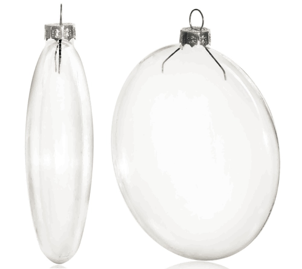Clear glass ball ornaments - Free Shipping Diy Paintable Clear Christmas Decoration 100mm Glass Disc Paper Silver Cap Ornament