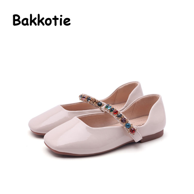 Bakkotie 2018 Spring New Fashion Baby Girl Pu Leather Rhinestone Shoe Children Princess Flat Kid Sweet Brand Party Mary Jane
