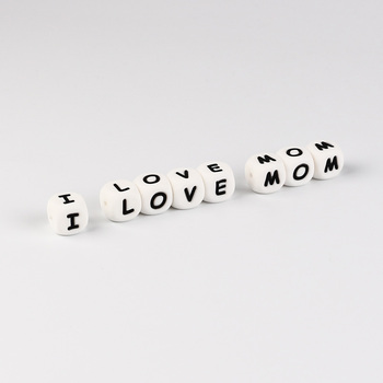 TYRY.HU 10pc Letter Silicone Beads Baby Teether Beads Chewing Alphabet Bead For Personalized Name DIY Teething Necklace 12mm
