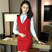 Новая Профессиональная форма блейзеры с блузкой и платьем для женщин офисная Рабочая одежда салонные наряды красоты плюс размер красный
