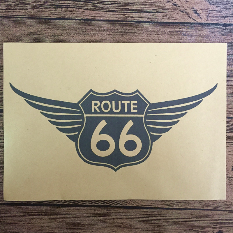 Top fashion DC-023 back to the future kraft paper ROUTE 66 home decor vintgae poster paintings for living room wall 42x30 cm