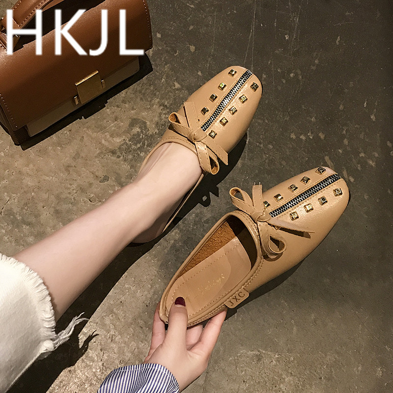 HKJL Fashion women Spring 2019 new ladies shoes wicker zipper fashion casual comfortable loafers slipper A246