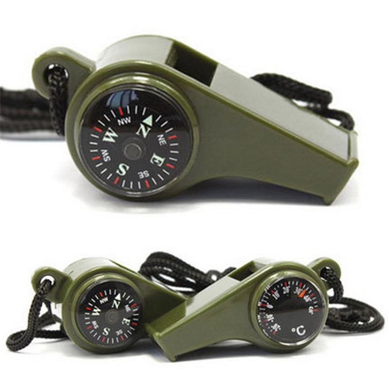 3 in1 Camping Hiking Emergency Survival Gear Whistle Compass Thermometer Outdoor Need ArmyGreen Color P20