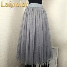 Laipelar Tulle Skirts Womens Black Gray White Adult Skirt Elastic High Waist Pleated Midi 2018