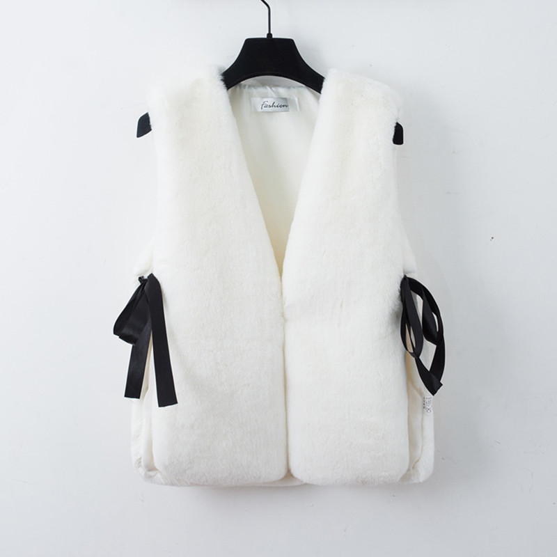 Sin Mujeres Elegante Coreano Y Nueva Chaleco 5 Otoño Faux Tamaño Ropa Fur Invierno 4 O cuello 2 Más Estilo Abrigos 3 Chaquetas Mangas Casual 1 dpxC0qxzaw