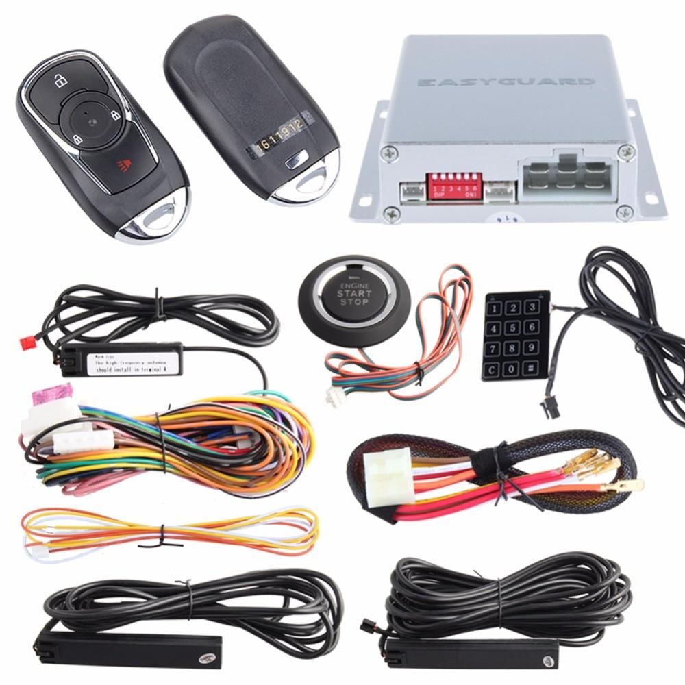 12v Car Alarm System Keyless Entry Push Button Start: Original PKE Car Alarm System Passive Entry Keyless Kit