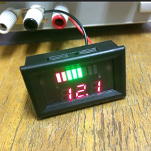 12V ACID Lead Battery Charge Level Indicator Red Digit Lithium Battery Capacity Meter LED Tester Dual Display Voltmeter(China)