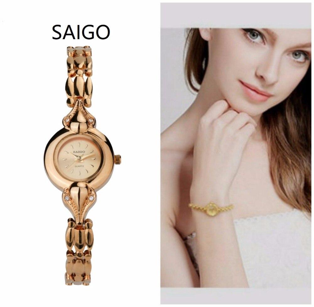 HONG KONG SAIGO watch bracelet women watches quartz wristwatches gold ladies Golden Women's Watch Ladies bracelet watch gift stylish golden hollow rounded rectangle hasp bracelet for women