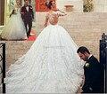 Gorgeous Sheer Long Sleeve Organza Tull Lace White Ball Gown Camo Wedding Dresses 2017 Bridal Dress Vestidos De Noiva De Renda