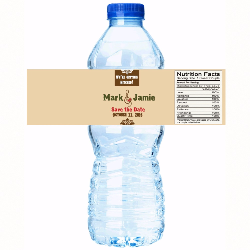 Water Bottle Name Tags: Yellow Background Personalized Water Bottle Labels Wedding