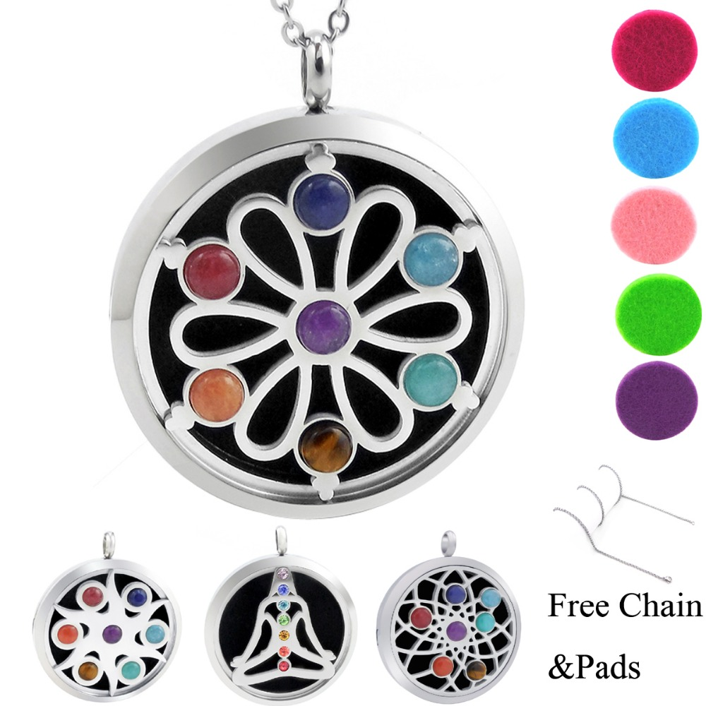 With Free Chains! New Arrivals Chakra Lockets (38mm) Aromatherapy / Stainless Steel Essential Oils Diffuser Locket Necklace 30mm yl logo magnet 316 stainless steel car aromatherapy locket free pads essential oil car perfume lockets drop shipping