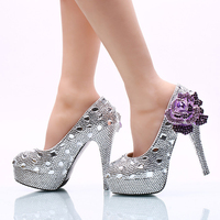 2017 Wedding Ceremony Shoes 14cm High Heel Silver Rhinestone Bridal Dress Shoes With Purple Crystal Flower