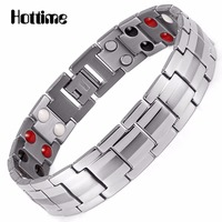 Hottime Fashion Jewelry Healing FIR Magnetic Titanium Steel Bio Energy Bracelet For Men Blood Pressure Accessory