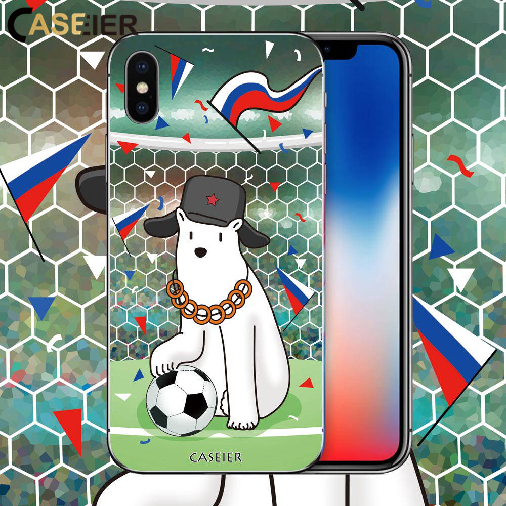 For iPhone X , CASEIER Football Phone Case Soccer Soft Silicone TPU Cover For iPhone 6 6s 7 8 Plus Russian Series Funda Capinha