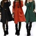 Vestidos new apressado vestidos desigual 2014 outono e inverno elegante plus size mm das mulheres longo-luva dress magro todo o jogo básico