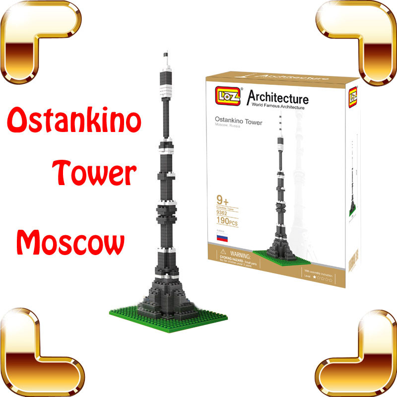 New Year Gift LOZ Diamond Blocks Ostankino Tower 3D Model Building Toy Moscow Famous Interest DIY ABS Bricks Smart Game Presents