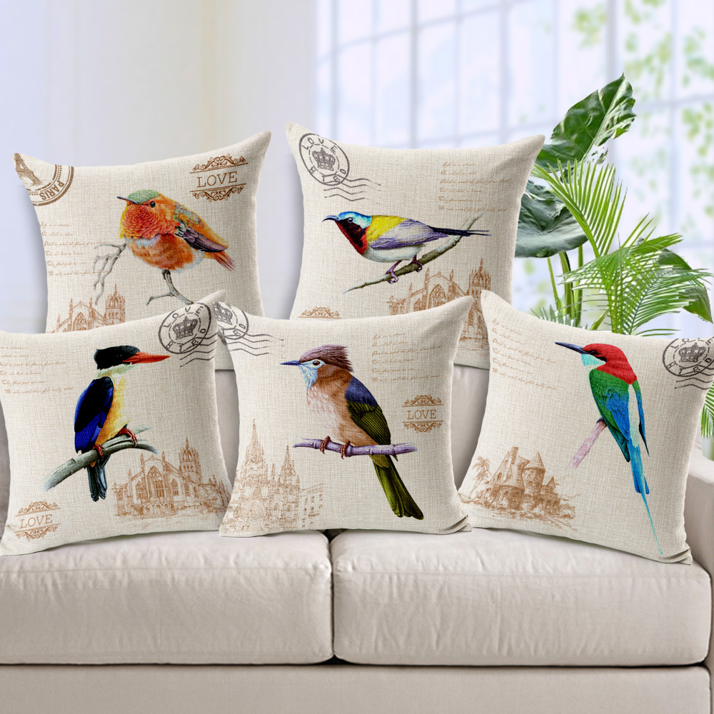Retro Birds Decorative Cushion Cover Pillow Case Home