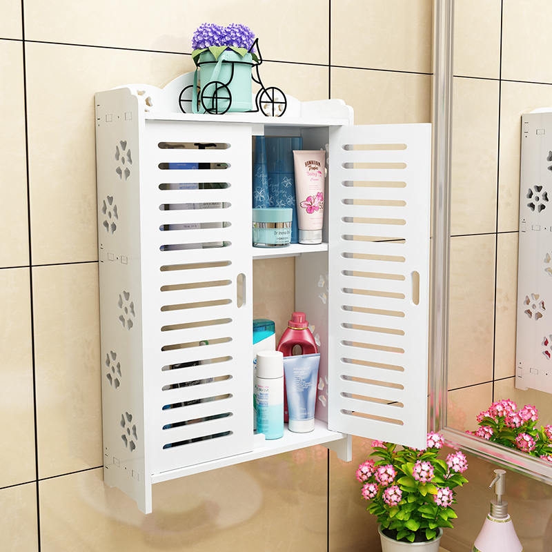 Wooden Bathroom Cabinet Storage Floor Wall Mount Cabinet Double Shutter Doors Shelves Punch Free Hanging Bar