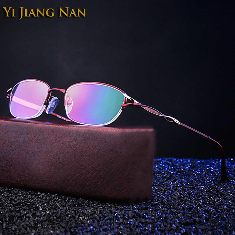 Mode Vrouwen Rode Heldere Lenzen Randloze Optische Brillen Half Frames Leesbril voor Vrouwelijke