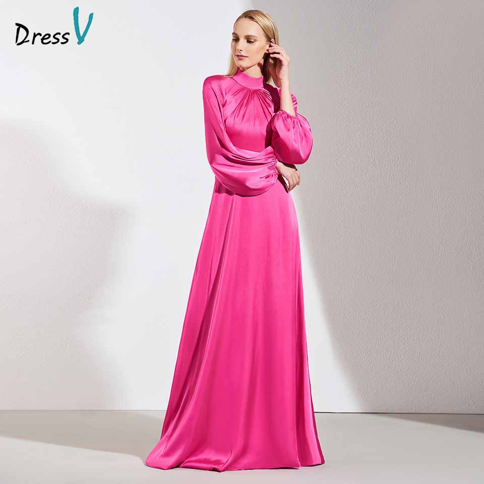 Dressv Elegant Evening Dress High Neck Long Sleeves Button Zipper Up A Line Wedding Party Formal Dress Evening Dresses