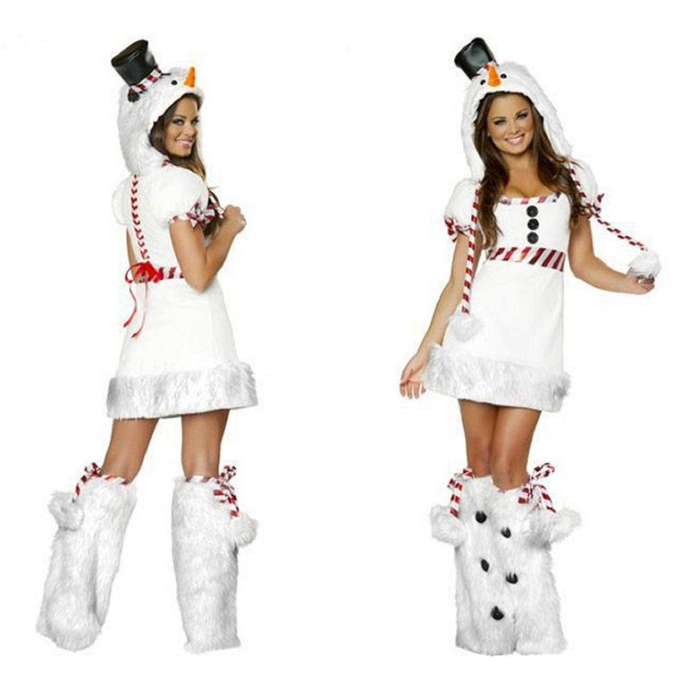 VASHEJING Classical White Snowman Cosplay Women Christmas Costumes Adult Women Olaf Costumes