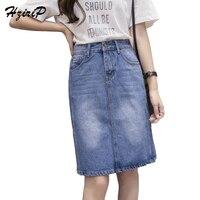 HziriP 2017 Bán Hot Casual Knee-Chiều Dài Denim Váy Phụ Nữ Cao thắt lưng Tua Chân Rộng Ánh Sáng Rửa Lỏng Jeans Nữ Cộng Với kích thước