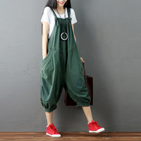 Vintage Solid Jumpsuits & Rompers Women's clothing Loose Ankle Length Pants Straight Jumpsuits 3 Color Cotton Jumpsuits