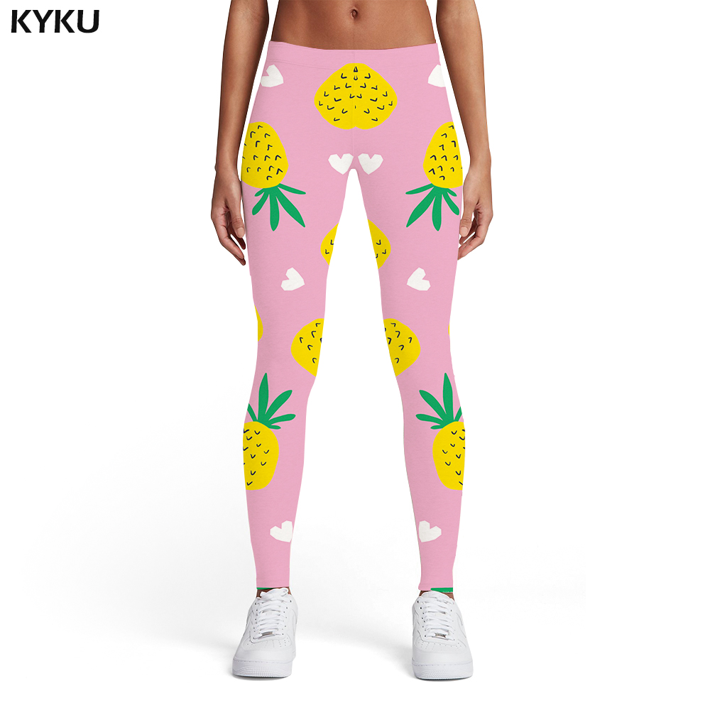 e43a615fd2 KYKU Pineapple Leggings Women Fruit Leggins Pink 3d Print Harajuku Ladies  Leaf Printed pants Womens Leggings