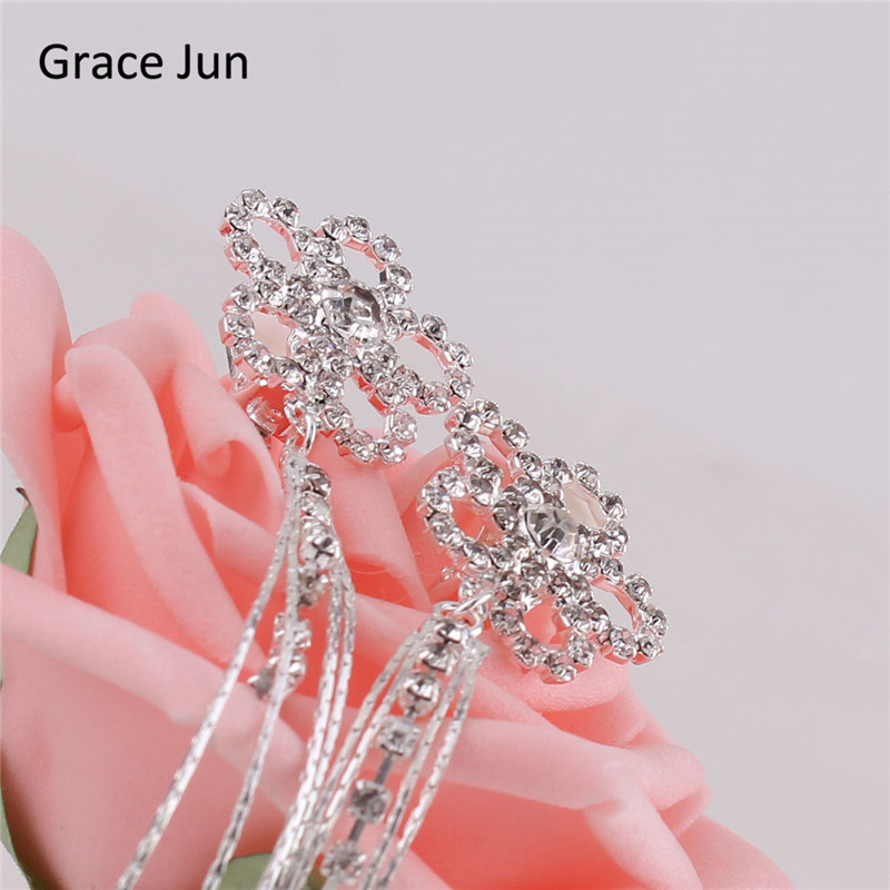 Grace Jun (TM) nouvelle mode fleur glands strass Clip sur boucles - Bijoux fantaisie - Photo 2