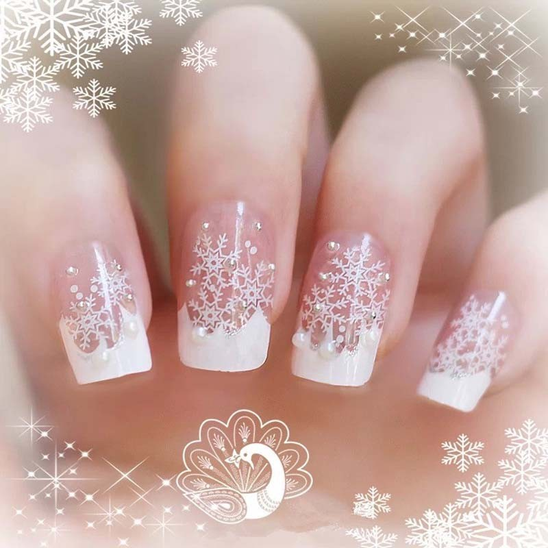 24pcs Box Finished Product Senior Bride Wedding Fake Nails Normal Length French Manicure Patch Christmas Series Snowflake F107 In False From Beauty