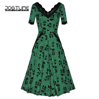 Amoyblue Lace Hepburn Vintage Dress 2017 Summer Women Fashion Cat Print Dresses Green Blue Color Ladies
