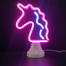 Night Light Lamp Unicorn LED Neon Sign Photography Prop light Desk Room Decoration D20